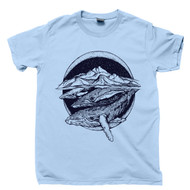 Swimming Whales T Shirt Humpback Cetaceans Ocean Waves Deep Blue Sea Nautical Marine Mammals Blue Tee