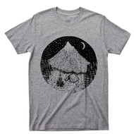 Camping Bonfire Under The Moon & Stars T Shirt Forest Woods Snow Capped Mountains Nature Gray Tee