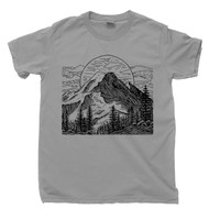 Full Moon Rising Above Mountains T Shirt Forest Woods Fresh Mountain Air Nature Gray Tee
