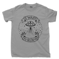 Alien I Want To Believe T Shirt Extraterrestrial UFO Abduction Outer Space Stars Comets Moons Planets Gray Tee