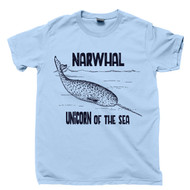 Narwhal T Shirt Unicorn Of The Sea Humpback Whale Cetaceans Ocean Waves Deep Blue Sea Nautical Marine Mammals Blue Tee