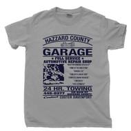 Hazzard County Garage T Shirt Bo Luke Daisy Duke 1969 Dodge Charger The Dukes Of Hazzard Gray Tee