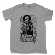 Jose Guadalupe Posada T Shirt  Calavera De La Adelita Soldaderas Female Soldier Famous Mexican Revolution Artist Day Of The Dead Gray Tee