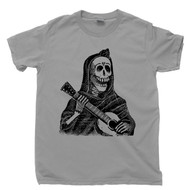 Jose Guadalupe Posada T Shirt Female Skeleton Playing Guitar Vignette For The Feast Of The Dead Famous Mexican Revolution Artist Day Of The Dead Gray Tee