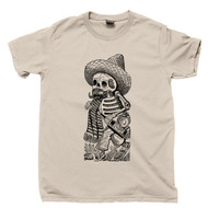 Jose Guadalupe Posada T Shirt Calavera Maderista Famous Mexican Revolution Artist Day Of The Dead Tan Tee