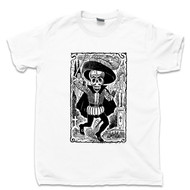 Jose Guadalupe Posada White T Shirt Skeleton Of Don Juan Tenorio Famous Mexican Revolution Artist Day Of The Dead Tee