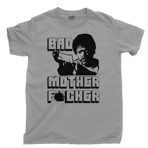 212b83e65 Bad Mother Fucker Light Gray T Shirt Samuel L Jackson Pulp Fiction Movie  Light Gray Tee