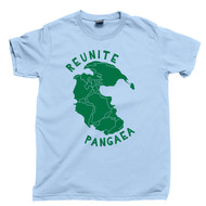 Reunite Pangaea Green T Shirt Supercontinent Pangea Map Light Blue Tee