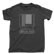 NES Cartridge Blow Me Dark Gray T Shirt Nintendo Entertainment System Dark Gray Tee