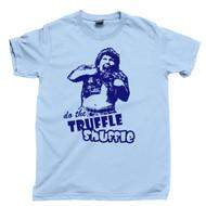 Truffle Shuffle Tan T Shirt Chunk The Goonies Movie Light Blue Tee