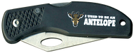 Wood Badge Antelope Critter Head Lockback Knife