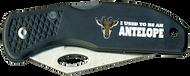 Wood Badge Antelope Critter Head Lockback Knife