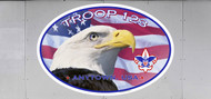Custom Boy Scout Troop Trailer Graphic Patriotic Eagle Oval (SP6482)
