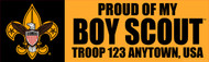 Custom Boy Scout Troop Proud of my Boy Scout Bumper Sticker (SP5295)