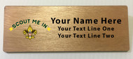 Scout Me In Universal Logo Wooden Name Tag