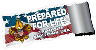 Custom Scouts BSA Troop Prepared for Life Flag Car Sticker (SP5430)