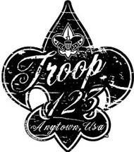 Custom Scouts BSA Troop Distressed Fleur De Lis Car Sticker (SP5429)