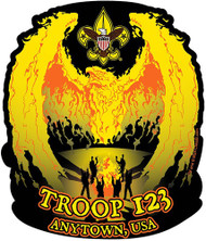 Custom Scouts BSA Troop Camp Fire Phoenix Car Sticker (SP5428)