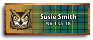 Wood Badge Owl Tartan Starburst Name Tag
