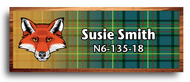 Wood Badge Fox Tartan Starburst Name Tag