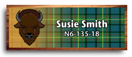 Wood Badge Buffalo Tartan Starburst Name Tag