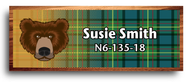 Wood Badge Bear Tartan Starburst Name Tag