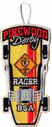 Pinewood Derby Lion Racer Patch - Retro