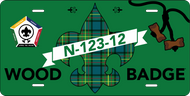 License Plate Wood Badge Tartan SP7267