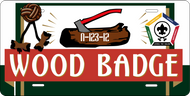 License Plate Wood Badge Axe and Log SP7269
