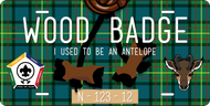 License Plate Wood Badge Beads With Antelope SP7270
