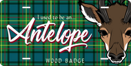 License Plate Wood Badge Tartan Pattern With Antelope SP7271