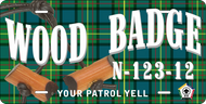 License Plate Wood Badge Tartan Pattern with Beads SP7273