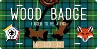 License Plate Wood Badge Beads With Fox SP7294