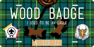 License Plate Wood Badge Beads With Eagle SP7293
