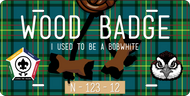 License Plate Wood Badge Beads With Bobwhite SP7291