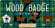 License Plate Wood Badge Beads With Bear SP7289