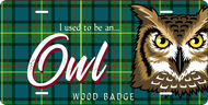 License Plate Wood Badge Tartan Pattern With Owl SP7288