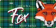 License Plate Wood Badge Tartan Pattern With Fox SP7287