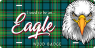 License Plate Wood Badge Tartan Pattern With Eagle SP7286