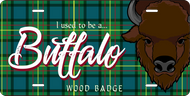 License Plate Wood Badge Tartan Pattern With Buffalo SP7285