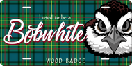 License Plate Wood Badge Tartan Pattern With Bobwhite SP7284