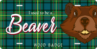 License Plate Wood Badge Tartan Pattern With Beaver SP7283