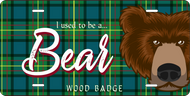 License Plate Wood Badge Tartan Pattern With Bear SP7282