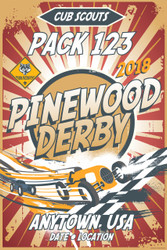 Custom Cub Scout Pack Pinewood Derby Poster -  Retro Red Rays (SP4649)