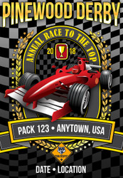 Custom Cub Scout Pack Pinewood Derby Poster -  Formula One Car (SP4651)