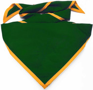Blank Forest Green Neckerchief with Gold Piped Edge Troop Size (B848 BT 27/9)