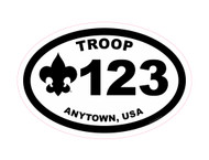 Custom Scouts BSA Troop Oval Car Sticker (SP4624)