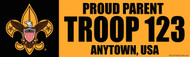 Custom Proud Parent Scouts BSA Troop Bumper Sticker - Gold (SP4621)