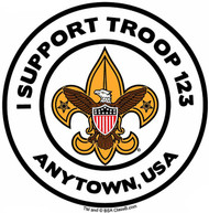 Custom I Support Scouts BSA Troop Car Sticker with Color Logo (SP5486)