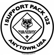 Custom I Support Cub Scout Pack Car Sticker (SP5490)